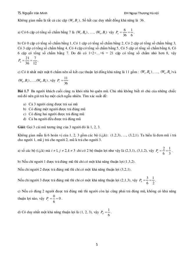 TS. Nguyễn Văn Minh ĐH Ngoại Thương Hà nội 5 Không gian mẫu là tất cả các cặp ( , )i jW B , Số kết cục duy nhất đồng khả n...