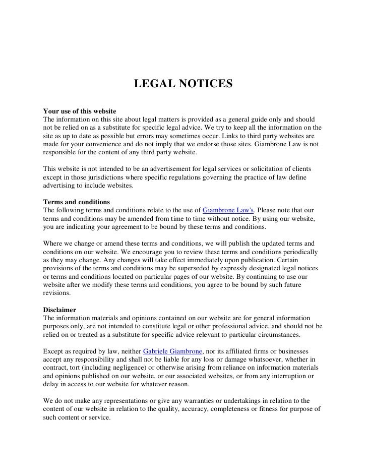 LEGAL NOTICESYour use of this websiteThe information on this site about legal matters is provided as a general guide only ...