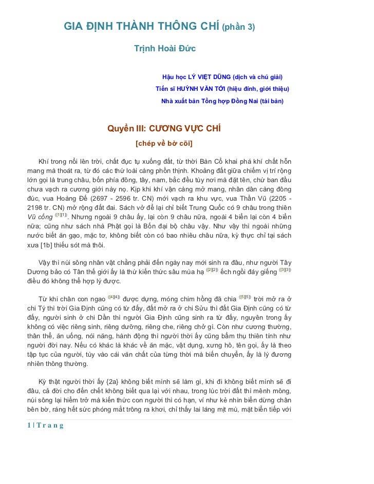 GIA ĐỊNH THÀNH THÔNG CHÍ (phần 3)                                     Trịnh Hoài Đức                                      ...