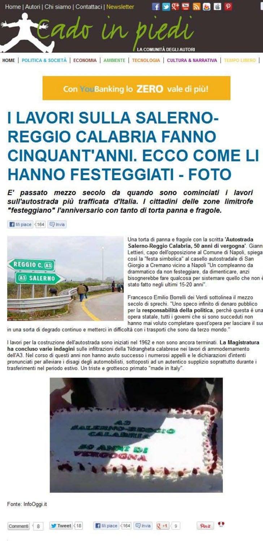 I lavori sulla Salerno-Reggio Calabria fanno cinquant'anni. - Blog Cadoinpiedi