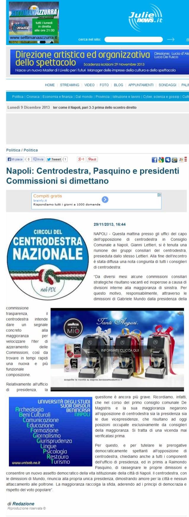 Gianni Lettieri chiede azzeramento commissioni consiliari