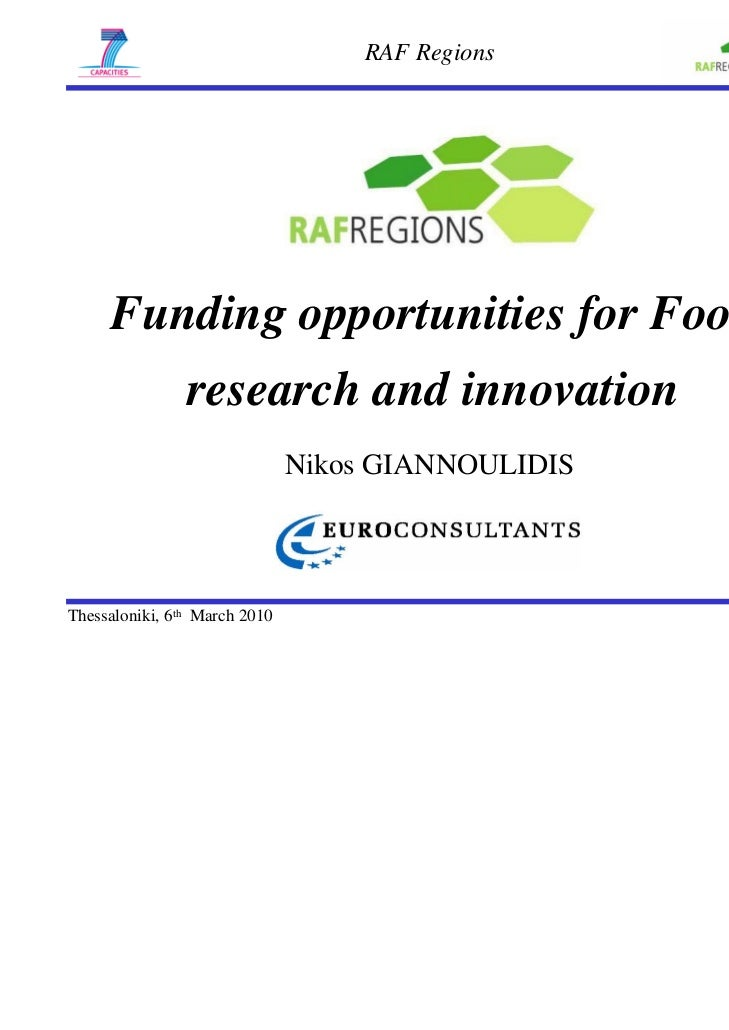 RAF Regions     Funding opportunities for Food                research and innovation                               Nikos ...