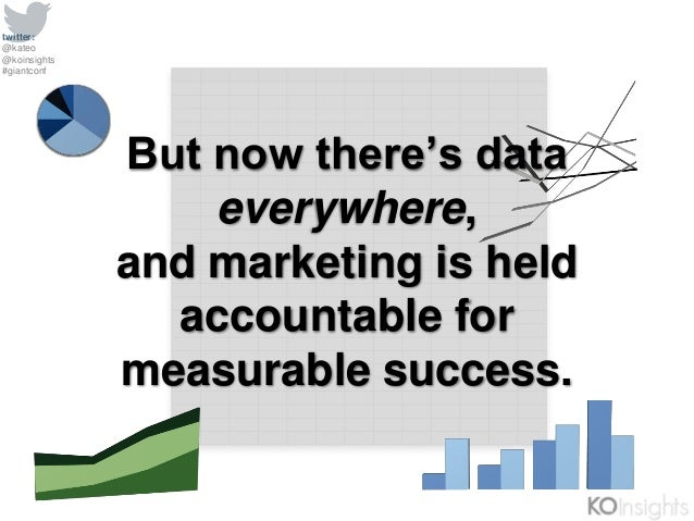 twitter: @kateo @koinsights #giantconf But now there's data everywhere, and marketing is held accountable for measurable s...