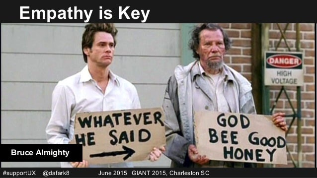 #supportUX @dafark8 June 2015 GIANT 2015, Charleston SC Empathy is Key Bruce Almighty