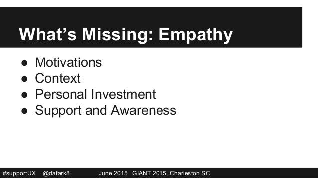 #supportUX @dafark8 June 2015 GIANT 2015, Charleston SC What's Missing: Empathy ● Motivations ● Context ● Personal Inve...