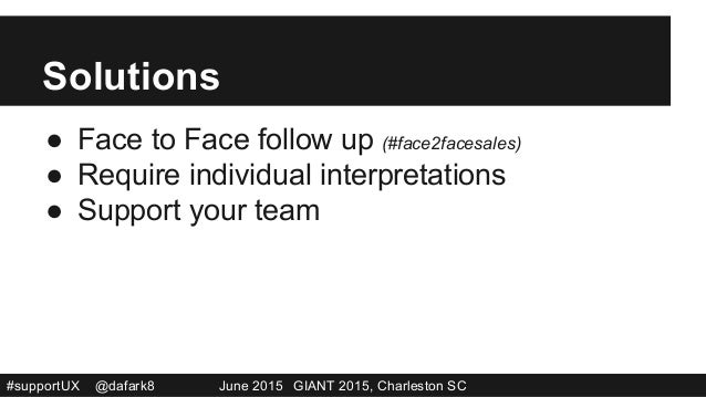 #supportUX @dafark8 June 2015 GIANT 2015, Charleston SC Solutions ● Face to Face follow up (#face2facesales) ● Require i...