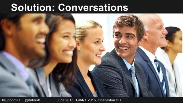 #supportUX @dafark8 June 2015 GIANT 2015, Charleston SC Solution: Conversations