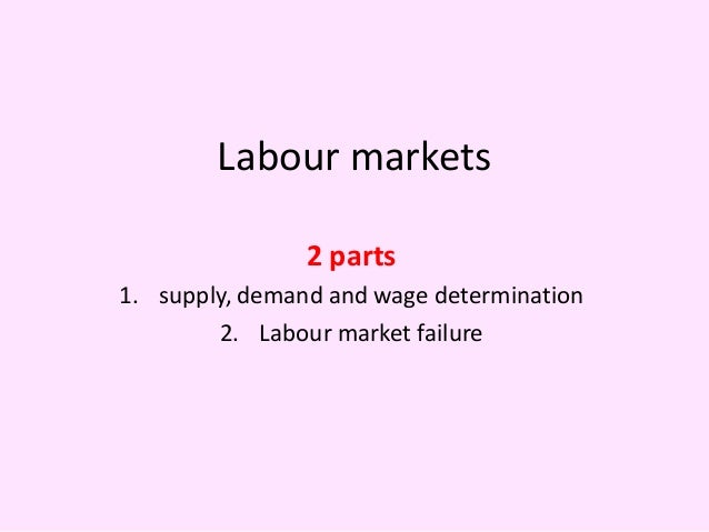 Labour markets                2 parts1. supply, demand and wage determination        2. Labour market failure