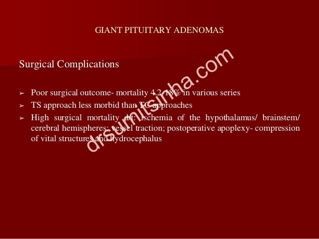 GIANT PITUITARY ADENOMAS Surgical Complications ➢ Poor surgical outcome- mortality 4.2-18% in various series ➢ TS approach...