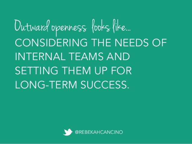 Exponential openness happens when cross- discipline teams come together to co-create something greater than any one person...