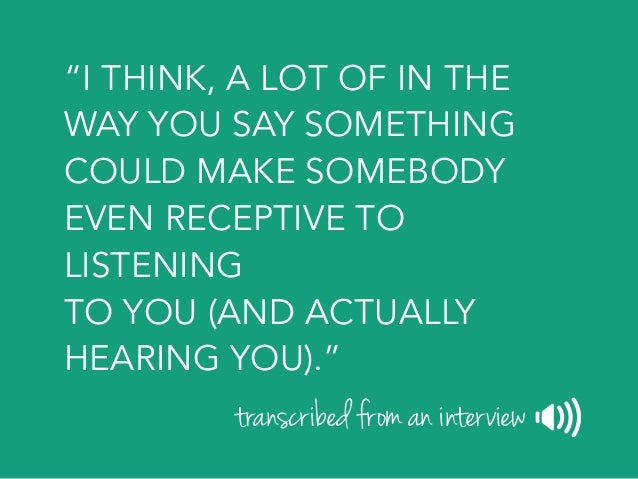"""""""EVEN IF I HAVE A HUNCH ABOUT SOMETHING…"""" transcribed from an interview"""