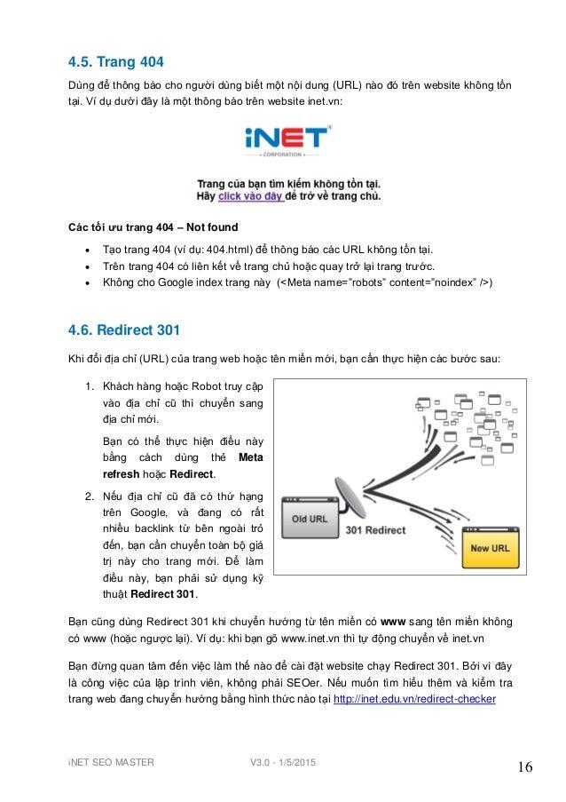 iNET SEO MASTER V3.0 - 1/5/2015 16 4.5. Trang 404 Dùng để thông báo cho ngƣời dùng biết một nội dung (URL) nào đó trên web...