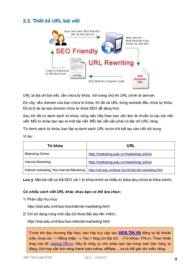 iNET SEO MASTER V3.0 - 1/5/2015 9 2.2. Thiết kế URL bài viết URL là địa chỉ bài viết, cần chứa từ khóa. Với trang chủ thì ...