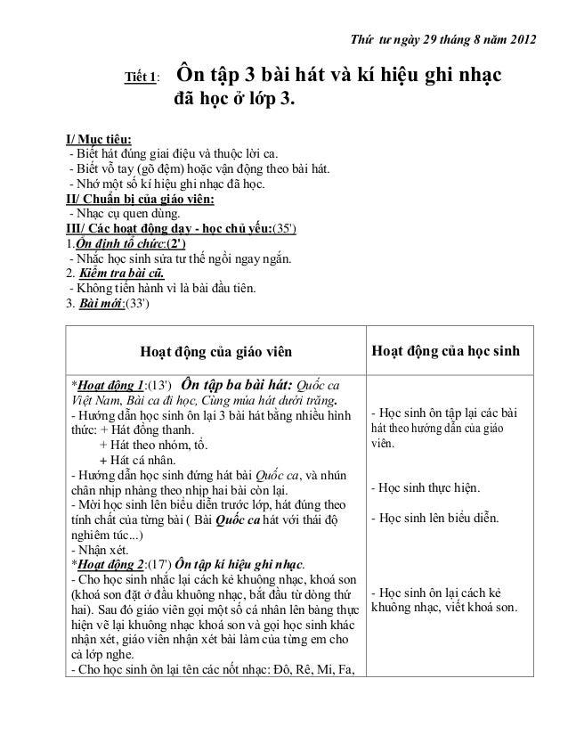 Thứ tư ngày 29 tháng 8 năm 2012 Tiết 1:  Ôn tập 3 bài hát và kí hiệu ghi nhạc đã học ở lớp 3.  I/ Mục tiêu: - Biết hát đún...