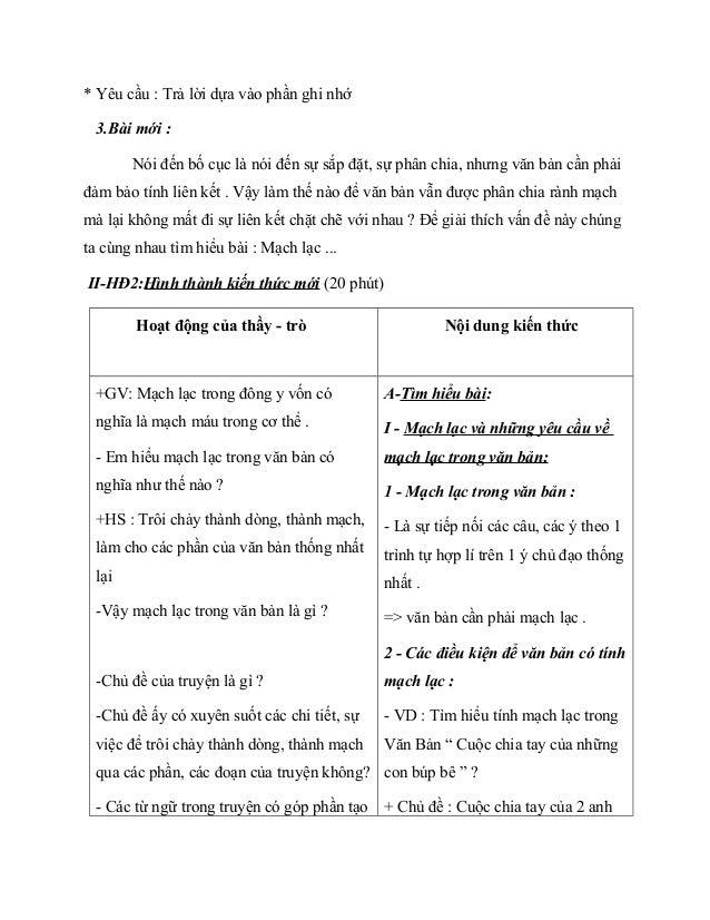 * Yêu cầu : Trả lời dựa vào phần ghi nhớ 3.Bài mới : Nói đến bố cục là nói đến sự sắp đặt, sự phân chia, nhưng văn bản cần...