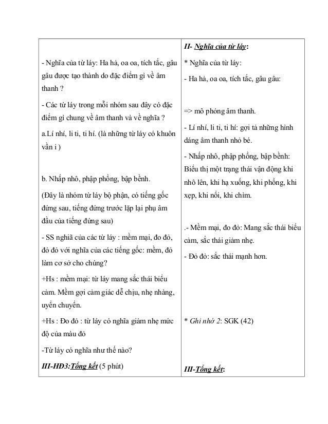 - Nghĩa của từ láy: Ha hả, oa oa, tích tắc, gâu gâu được tạo thành do đặc điểm gì về âm thanh ? - Các từ láy trong mỗi nhó...