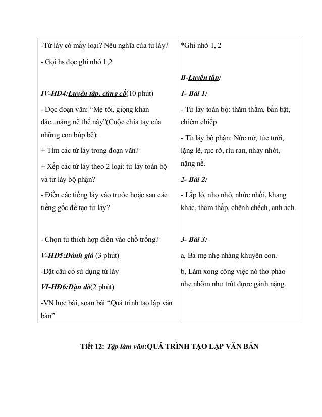"""-Từ láy có mấy loại? Nêu nghĩa của từ láy? - Gọi hs đọc ghi nhớ 1,2 IV-HĐ4:Luyện tập, củng cố(10 phút) - Đọc đoạn văn: """"Mẹ..."""