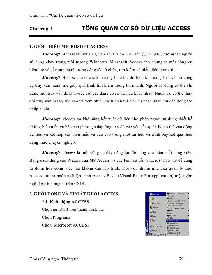 """Giáo trình """"Các hệ quản trị cơ sở dữ liệu""""   Chương 1                     TỔNG QUAN CƠ SỞ DỮ LIỆU ACCESS  1. GIỚI THIỆU MI..."""