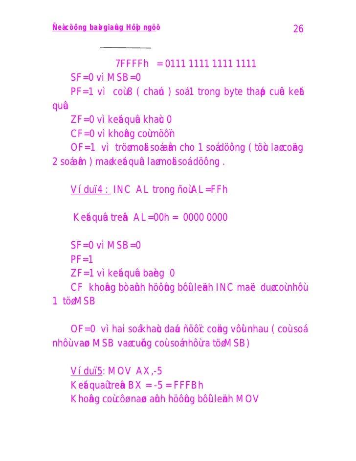 Ñeà cöông baø i giaû n g Hôï p ngöõ                         26                   7FFFFh = 0111 1111 1111 1111        SF=0 ...