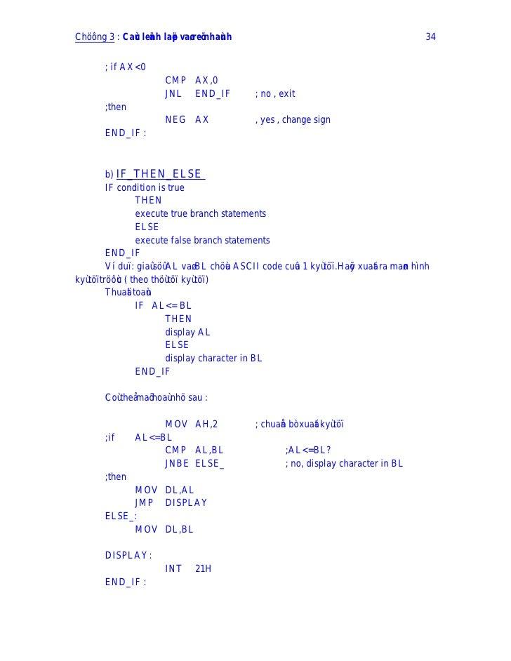 Chöông 3 : Caùc leänh laëp vaø reõ nhaùnh                                                    34          ; if AX<0        ...