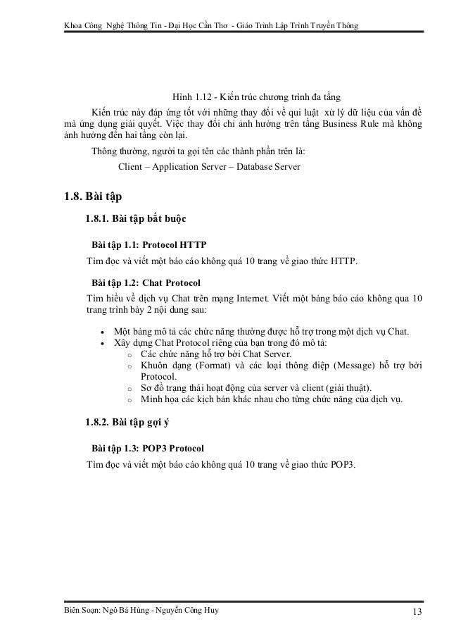 Khoa Công Nghệ Thông Tin - Đại Học Cần Thơ - Giáo Trình Lập Trình Truyền Thông                            Hình 1.12 - Kiến...