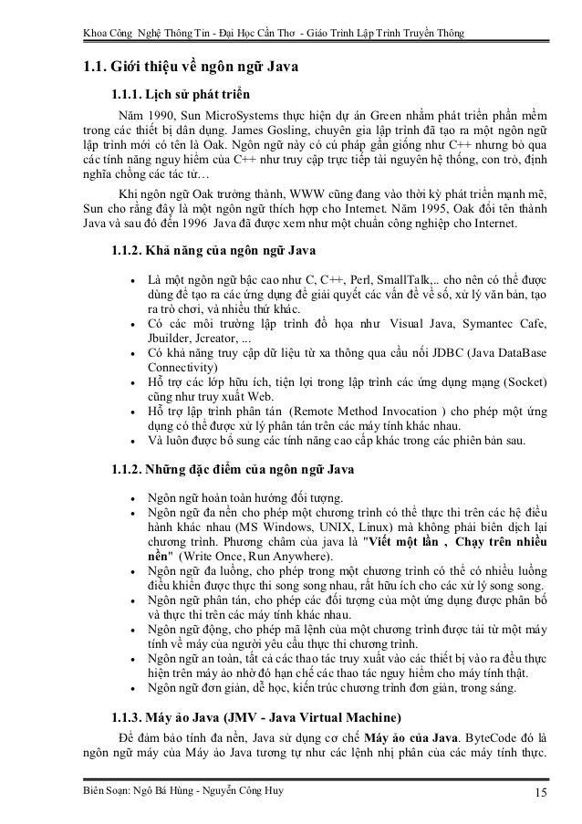 Khoa Công Nghệ Thông Tin - Đại Học Cần Thơ - Giáo Trình Lập Trình Truyền Thông1.1. Giới thiệu về ngôn ngữ Java     1.1.1. ...