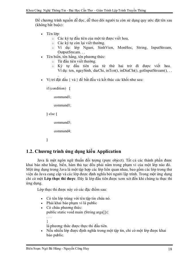 Khoa Công Nghệ Thông Tin - Đại Học Cần Thơ - Giáo Trình Lập Trình Truyền Thông     Để chương trình nguồn dễ đọc, dễ theo d...