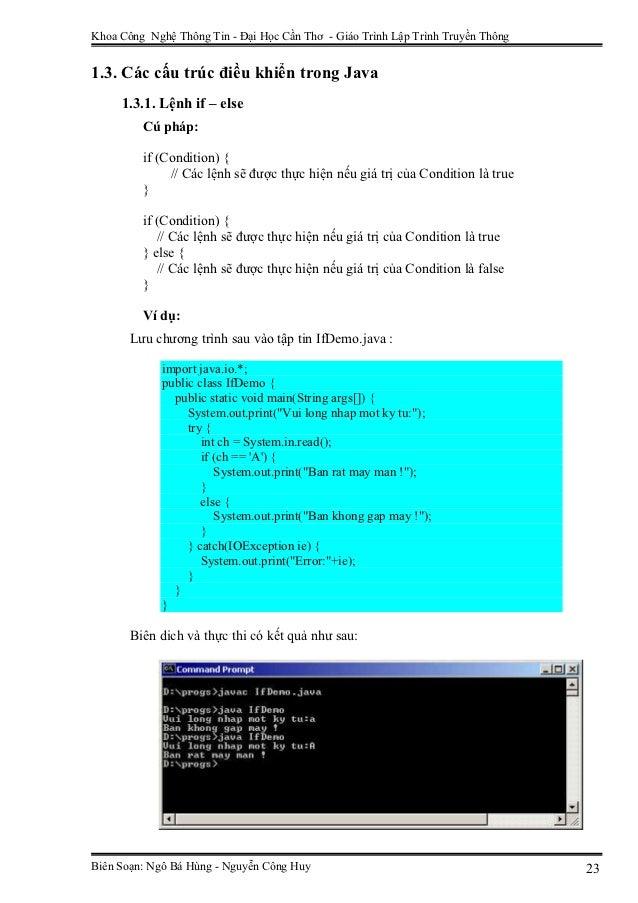 Khoa Công Nghệ Thông Tin - Đại Học Cần Thơ - Giáo Trình Lập Trình Truyền Thông1.3. Các cấu trúc điều khiển trong Java     ...
