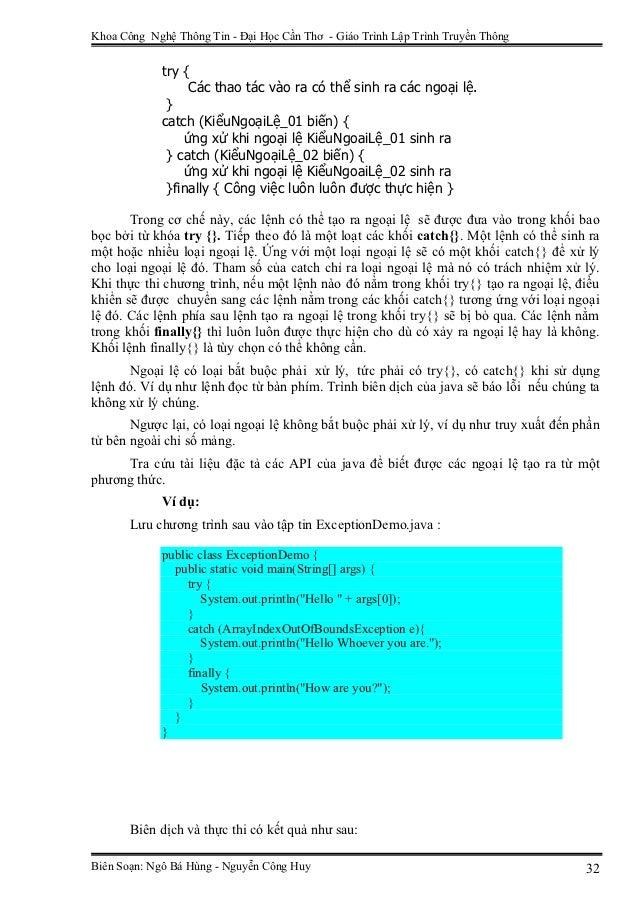 Khoa Công Nghệ Thông Tin - Đại Học Cần Thơ - Giáo Trình Lập Trình Truyền Thông             try {                  Các thao...
