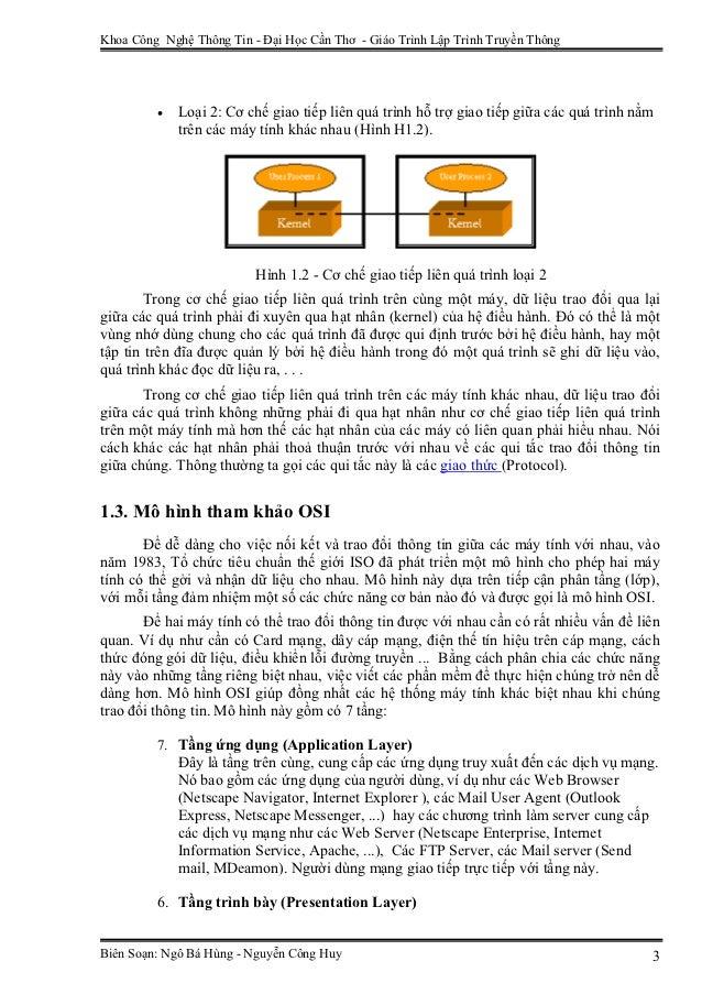Khoa Công Nghệ Thông Tin - Đại Học Cần Thơ - Giáo Trình Lập Trình Truyền Thông         •   Loại 2: Cơ chế giao tiếp liên q...