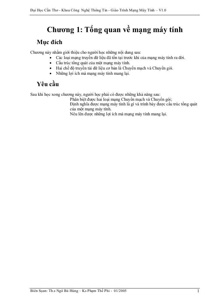 Đại Học Cần Thơ - Khoa Công Nghệ Thông Tin - Giáo Trình Mạng Máy Tính – V1.0         Chương 1: Tổng quan về mạng máy tính ...