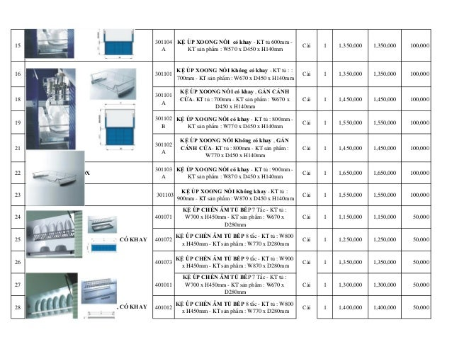 15 301104 A KỆ ÚP XOONG NỒI có khay - KT tủ 600mm - KT sản phẩm : W570 x D450 x H140mm Cái 1 1,350,000 1,350,000 100,...