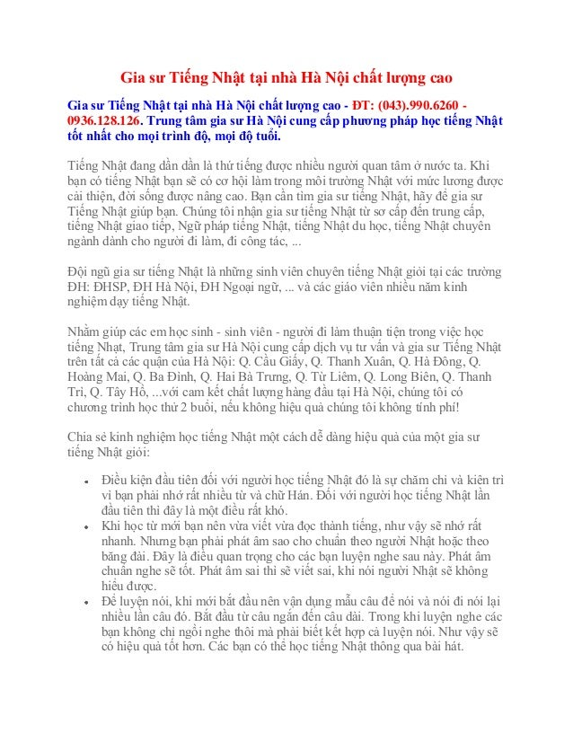 Gia sư Tiếng Nhật tại nhà Hà Nội chất lượng cao Gia sư Tiếng Nhật tại nhà Hà Nội chất lượng cao - ĐT: (043).990.6260 - 093...