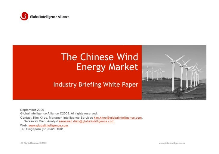 The Chinese Wind                                  Energy Market                             Industry Briefing White Paper ...