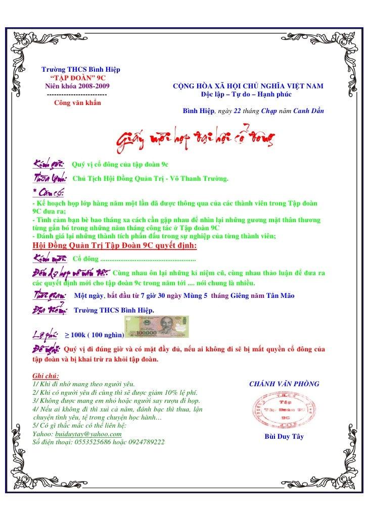 """Trư ng THCS Bình Hi p            """"T P ĐOÀN"""" 9C           Niên khóa 2008-2009                                     C NG HÒA ..."""