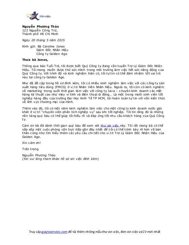 Truy cập giaytoxinviec.com để tải thêm những mẫu thư xin việc, đơn xin việc và CV mới nhất Nguyễn Phương Thảo 123 Nguyễn C...