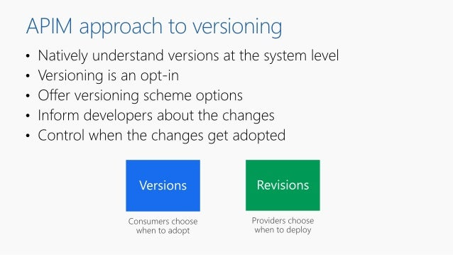 APIM approach to versioning