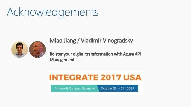 Acknowledgements Miao Jiang / Vladimir Vinogradsky Bolster your digital transformation with Azure API Management