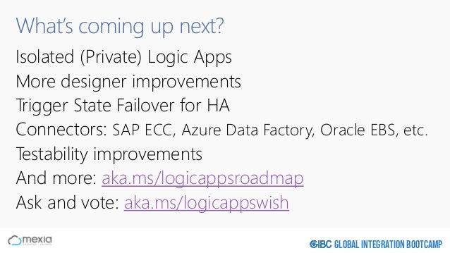 Global Integration Bootcamp What's coming up next? Isolated (Private) Logic Apps More designer improvements Trigger State ...