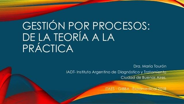 GESTIÓN POR PROCESOS: DE LA TEORÍA A LA PRÁCTICA Dra. María Tourón IADT- Instituto Argentino de Diagnóstico y Tratamiento ...