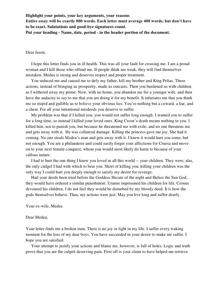 medea comparison contrast essay step of  dear jason <br > i hope this letter finds you in ill health