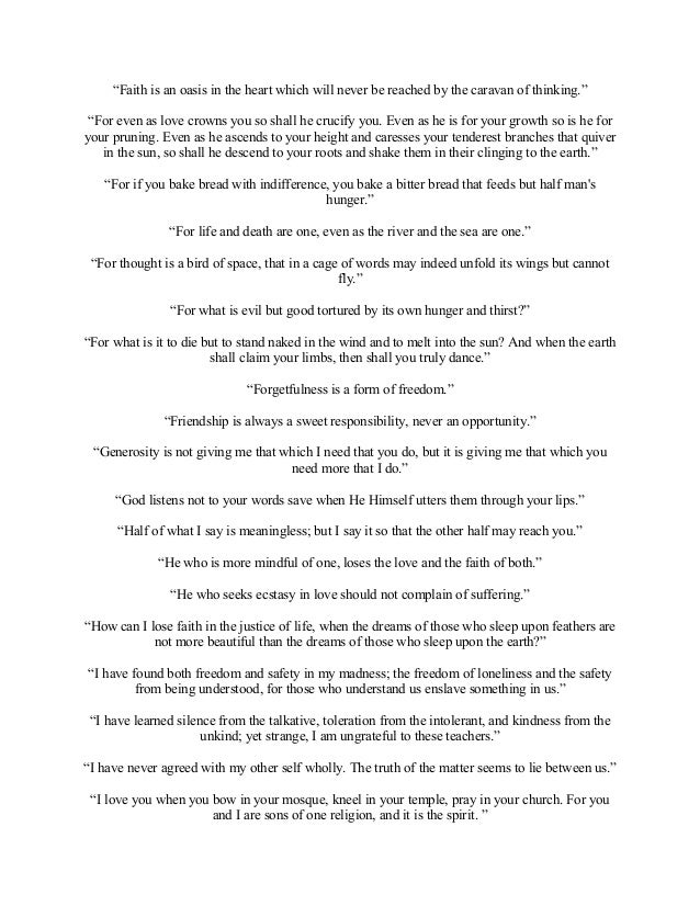 kahlil gibran poems on friendship