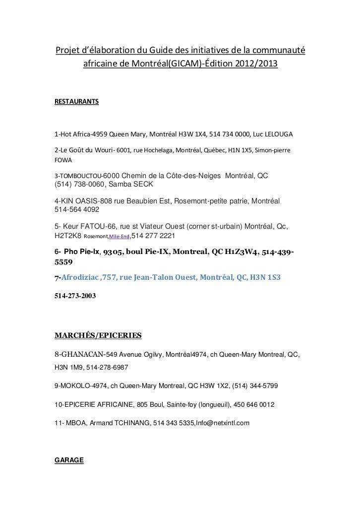 Projet d'élaboration du Guide des initiatives de la communauté       africaine de Montréal(GICAM)-Édition 2012/2013RESTAUR...