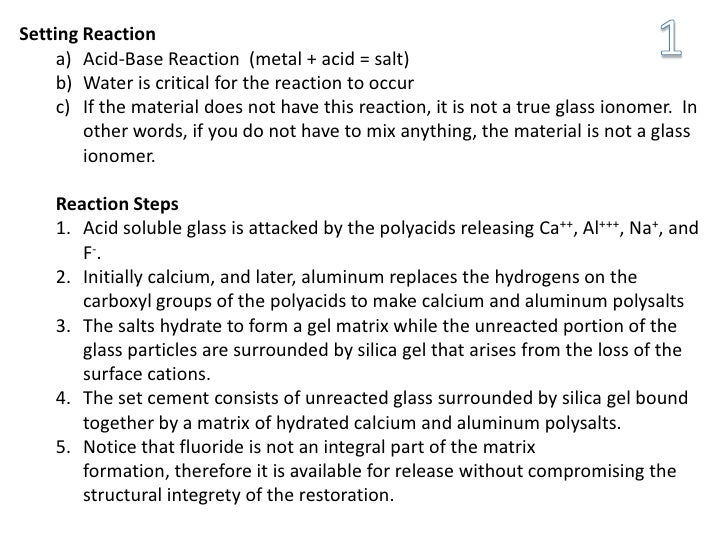 Setting Reaction     a) Acid-Base Reaction (metal + acid = salt)     b) Water is critical for the reaction to occur     c)...