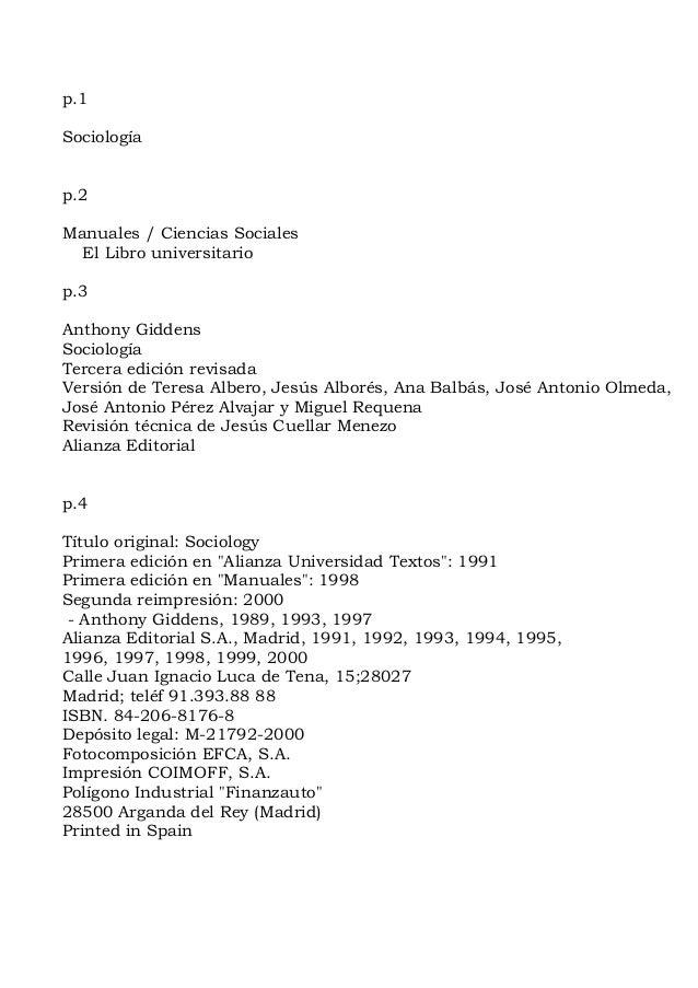 p.1Sociologíap.2Manuales / Ciencias Sociales  El Libro universitariop.3Anthony GiddensSociologíaTercera edición revisadaVe...
