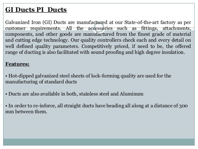 Gi Duct Manufacturer Ducts Galvanized Iron Ducts
