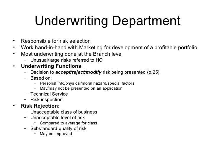 underwriting department