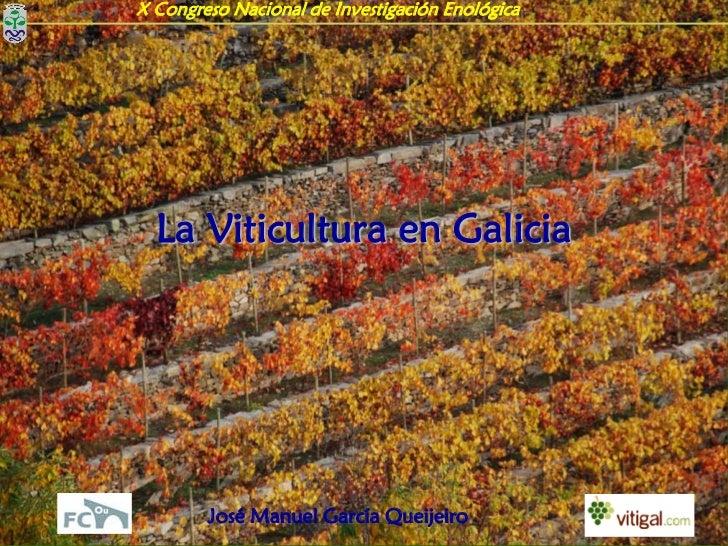 X Congreso Nacional de Investigación Enológica  La Viticultura en Galicia        José Manuel García Queijeiro