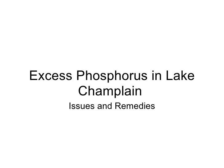 Excess Phosphorus in Lake Champlain Issues and Remedies