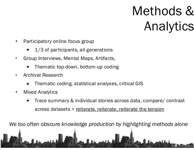• Participatory online focus group 1/3 of participants, all generations • Group Interviews, Mental Maps, Artifacts, Themat...